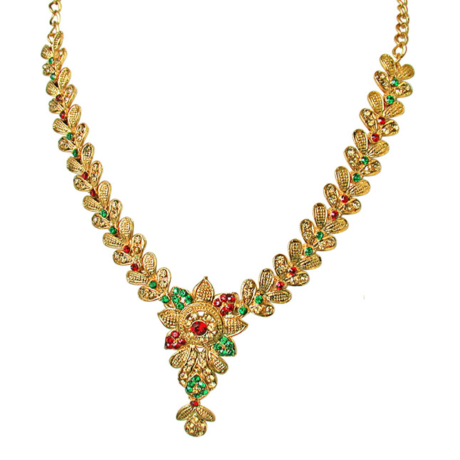 Floral Shaped Red, Green & Yellow Stone Traditional Necklace Earrings Set