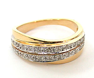 Florence Flower 0.32 ct Diamond Half Eternity rings -2 Tone Half Eternity