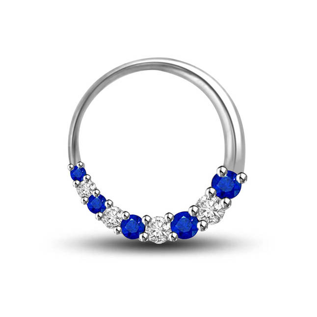 Floret Of Blue:Diamond & Sapphire Round Classy Pendants For Your Love