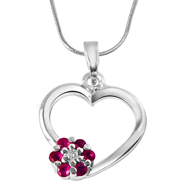 Flower in My Heart Real Diamond, Red Ruby & Sterling Silver Pendant with 18 IN Chain
