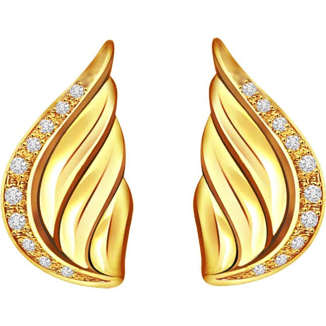 Flower Line Shell Shape Diamond Earrings -Designer Earrings