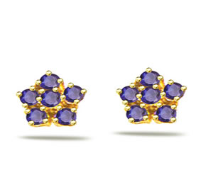 Flower of Sapphire 0.36ct Sapphire Kudajodi Earrings -Dia & Gemstone