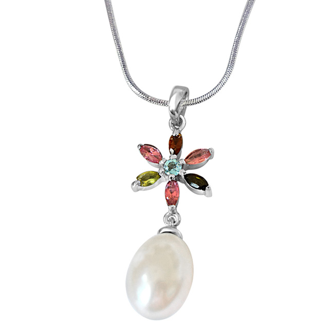 Flower Shaped Real Pearl & Gemstone Pendants with 18IN Chain -Designer Pendants