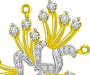 Flower Shape 3 Dimensional Diamond & Gold Pendants