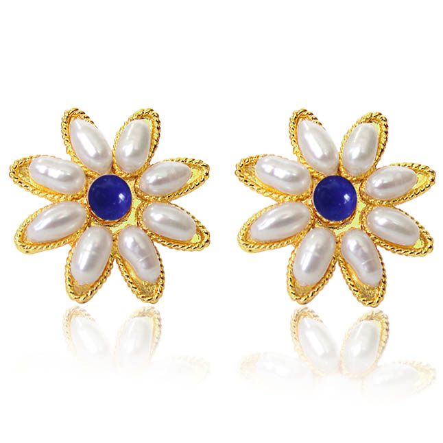 Flower Shape Blue Heaven Earrings SP -83 -ER -Flower Shape Earrings
