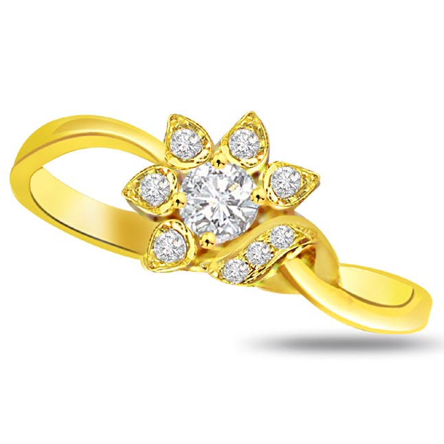 Flower Shape Diamond Gold rings SDR782
