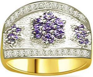 Flower Shape Round Sapphire & Diamond Two Tone rings