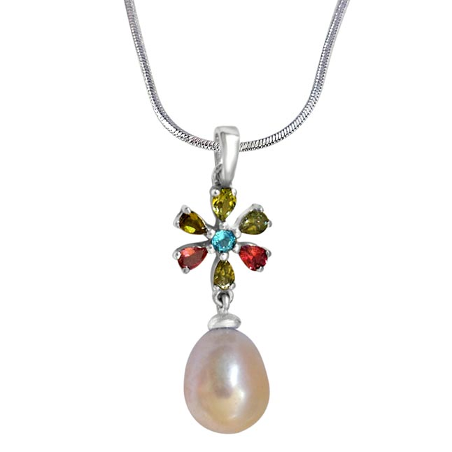 Flower Shaped Real Natural Pearl & Gemstone Pendants with 18IN Chain