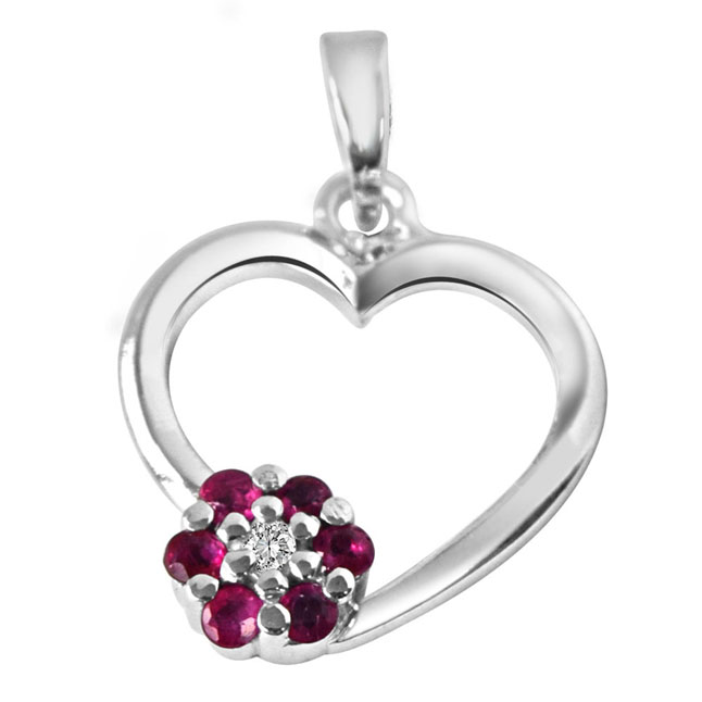 "Flower in My Heart Real Diamond, Red Ruby & Sterling Silver Pendants with 18"" Chain"