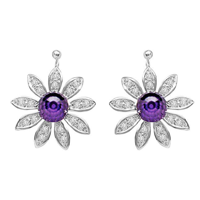 Flowery Desire 0.48ct Amethyst & Diamond Star Shaped Earrings For Your Beautiful Lady -Designer Earrings