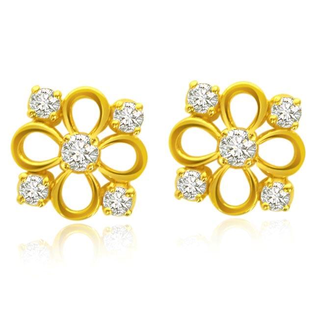 Flowery Fun Diamond Earrings ER -17 -Flower Shape Earrings