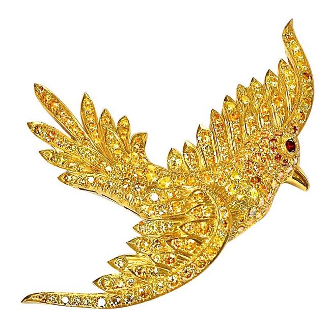 IGL Certified Fancy Colour Real Natural Diamond Flying Bird Brooch
