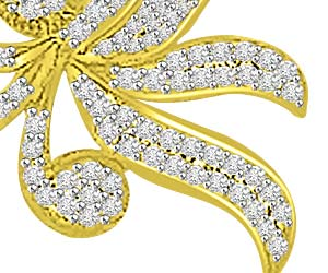 Flying Leaves Design 0.65ct Diamond Pendants Necklaces