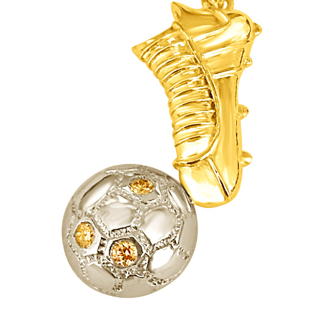For the Quarterback:Golden Shoe with Diamond Football -Sport Collection