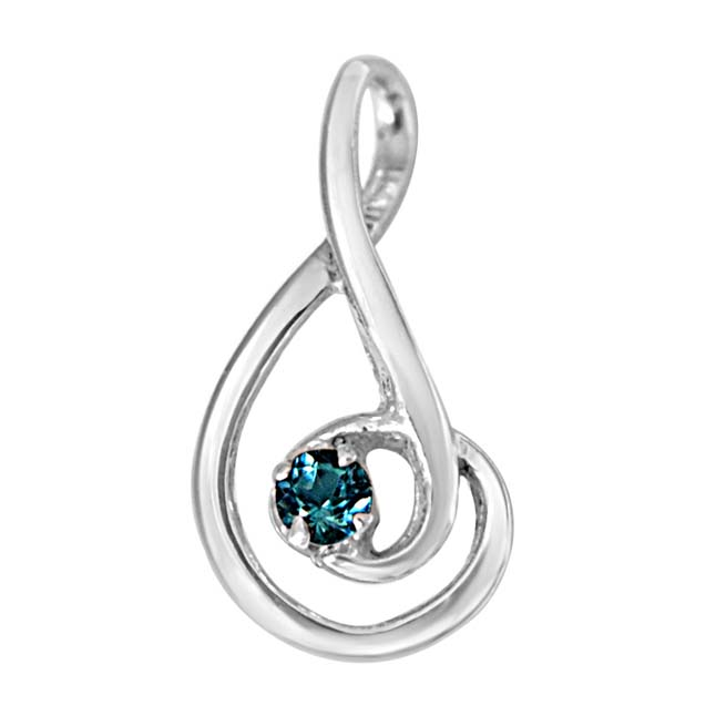 Forever Young Elegantly Designed Blue Topaz & 925 Sterling Silver Pendant with 18 IN Chain