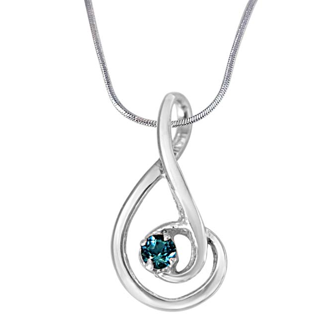 "Forever Young Elegantly Designed Blue Topaz & 925 Sterling Silver Pendants with 18"" Chain"