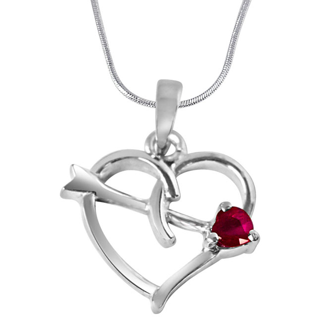 "Forever Young Red Ruby & Sterling Silver Pendants with 18"" Chain"