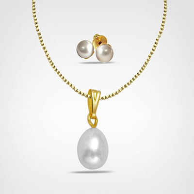 Freshwater Pearl & Gold Plated Pendant Set (SDS136+SE65)
