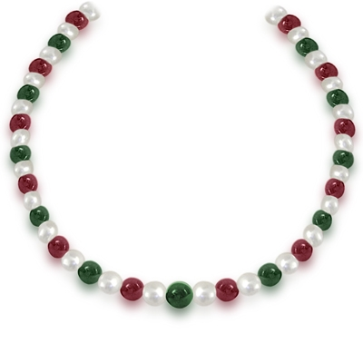 Freshwater Pearl, Red & Green Beads Necklace