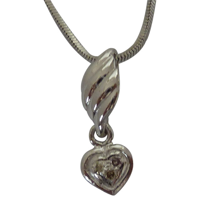 From The Heart - Real Diamond & Sterling Silver Pendant with 18 IN Chain