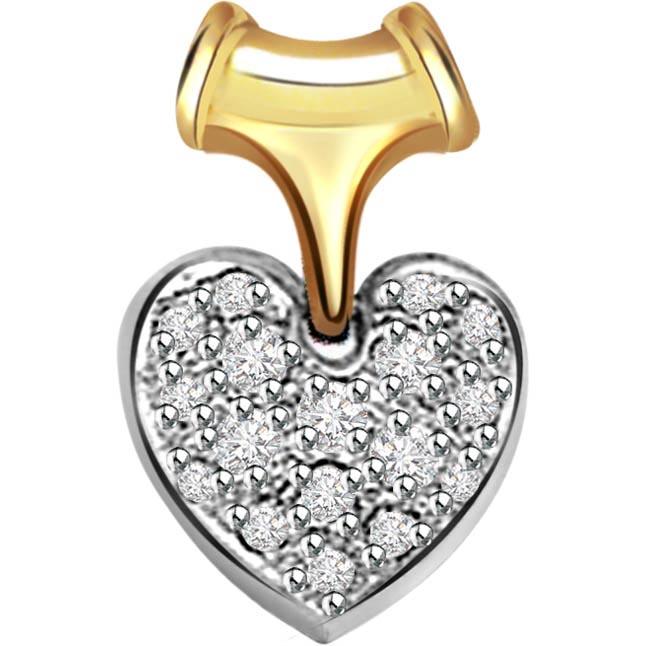 Fusion of Love 0.32 ct Diamond Two Tone Heart Pendants