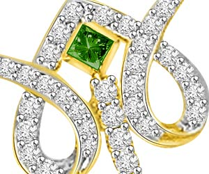 Garden of Paradise Diamond & Drop Green Emerald 18kt Gold Pendants