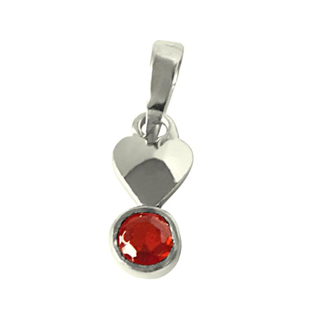 "Garnet Pendants set in Sterling Silver with 18"" Chain"