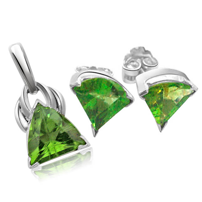 Trillion Shape Green Peridot Gemstone & Sterling Silver Pendant & Earring Set with Silver Finished Chain for Girls (SDS94+SDS95)