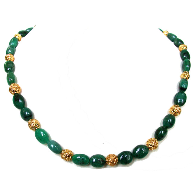 Genuine Oval Emerald Bead Necklace & Earrings Set -Gemstone Set