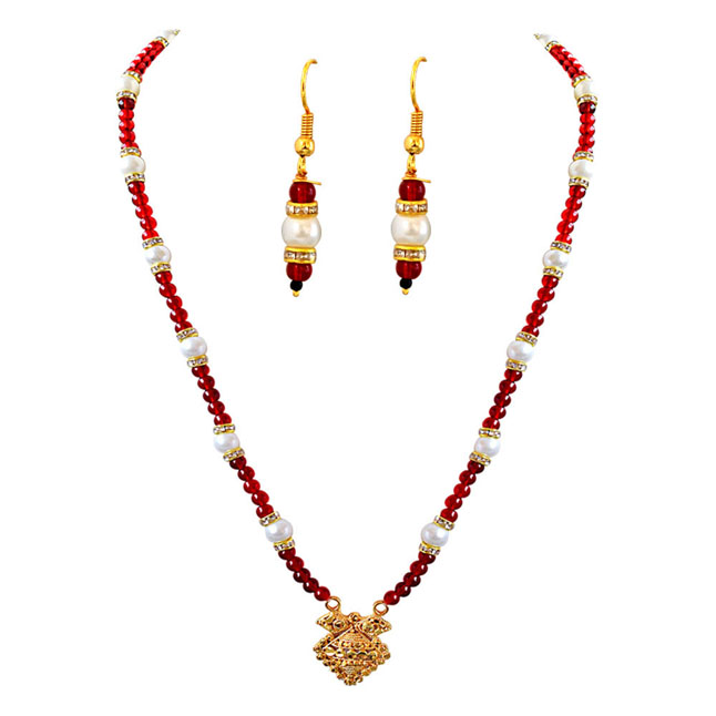 Geometrical Shaped Gold Plated Pendants, Red Stone & Shell Pearl Necklace Earrings Set