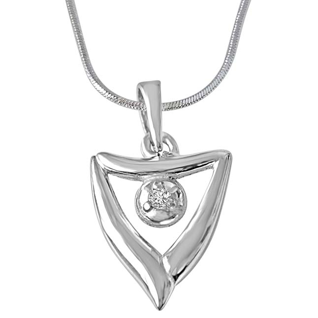 "Gift of Springs Sterling Silver Real Diamond Pendants with 18"" Chain"