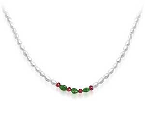 Glitter Girl - Real Rice Pearl, Oval Emerald & Ruby Beads Necklace For Women (SN443)