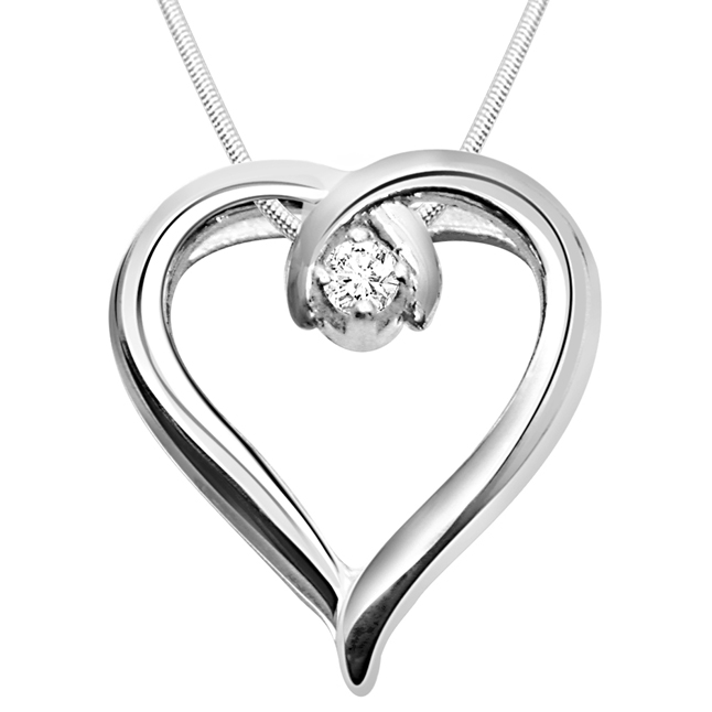 Global Love - Real Diamond & Sterling Silver Pendant with 18 IN Chain