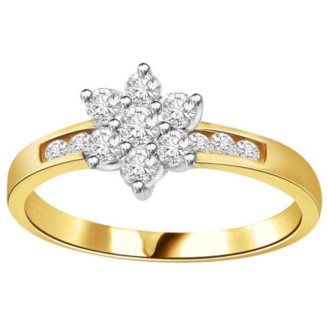 Glowing Floral Charm Fine 1.00 ct Flower Shape Diamond rings