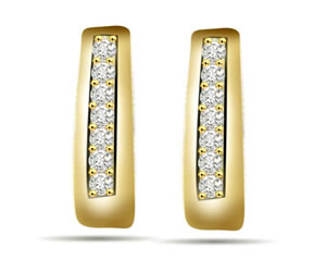 Glowing Sun 028 ct Diamond Gold Earrings -Balis & Hoops