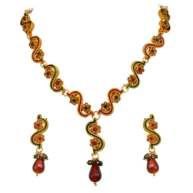 Red & Green coloured Stone with Gold Plated Necklace Earrings Set