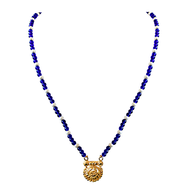 Gold Plated Pendants, Blue Stone & Shell Pearl Necklace & Earrings Set