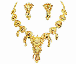 Gold Plated Necklace Earrings Set -GP5