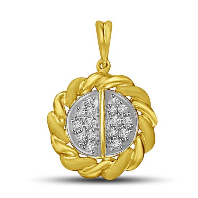 Gold Twists surrounding Diamond Wheel Pendants for Her