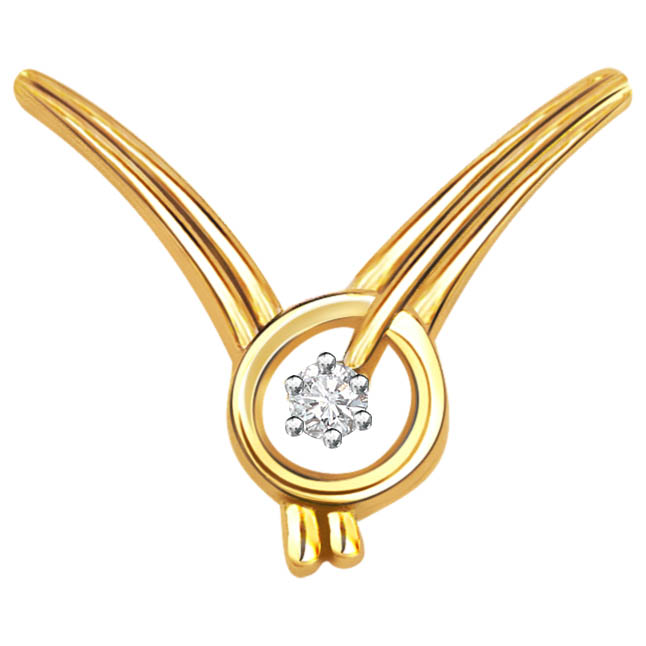 Golden Angel Diamond Solitaire Pendants P361 -Solitaire