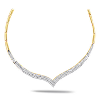 Golden Bride 1.32ct VS Clarity Diamond Necklace -2 Tone Necklace Pendants + Chain