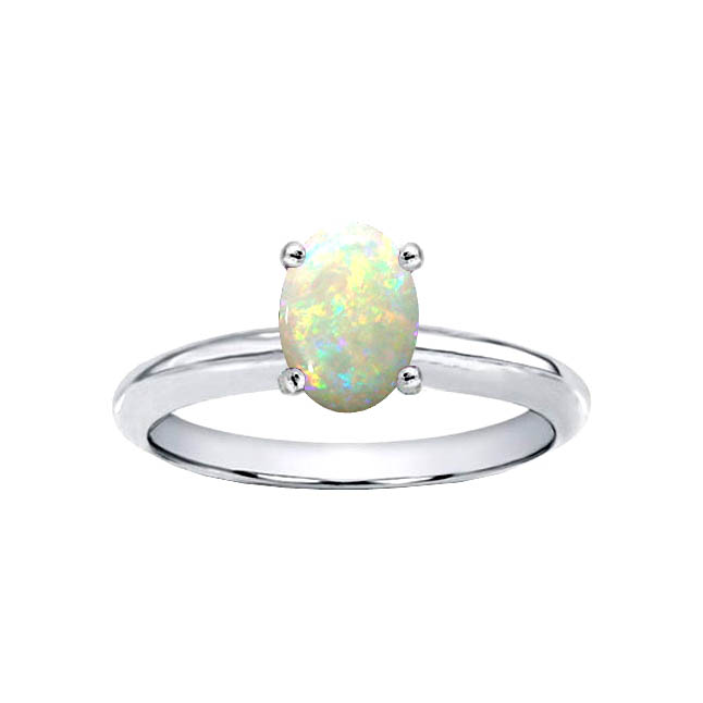 Golden Delicacy 0.40ct Solitaire Oval Opal rings in White Gold -Zodiac rings
