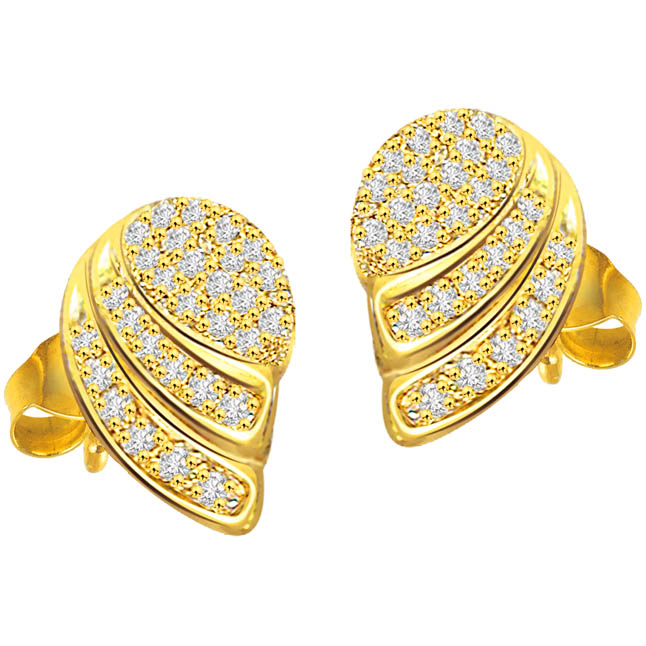 Golden Ducklings 1.16 ct Diamond Designer Earrings