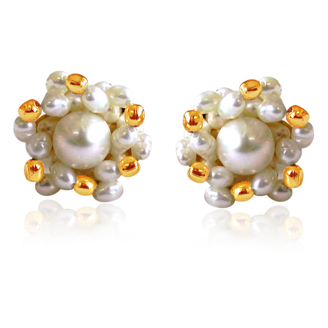 Golden Pearl Surprise - Real Rice Pearl & Gold Plated Beads Kuda Jodi Earrings for Women (SE19)