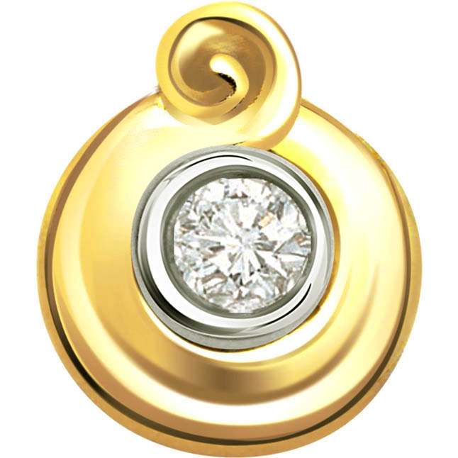 Golden Pride 0.10cts Diamond Two Tone Sol Pendants -Solitaire