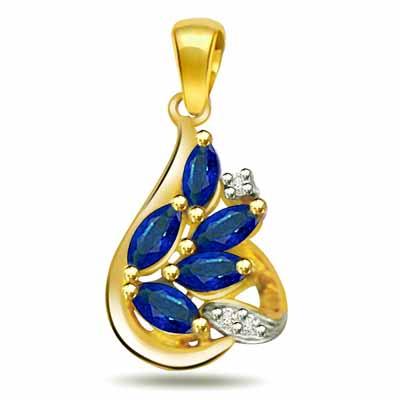 Golden Sapphire Leaves -0.03ct Diamond & Sapphire 18kt Gold Pendants