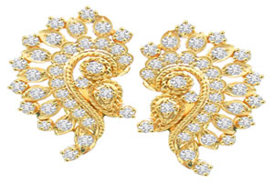 Golden Sparkling Stars Diamond Real Indian Beauty Earrings -Designer Earrings
