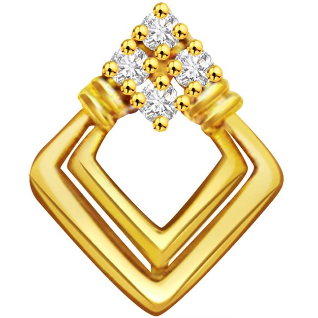 Golden Style 0.10 ct Diamond Pendants -Designer Pendants