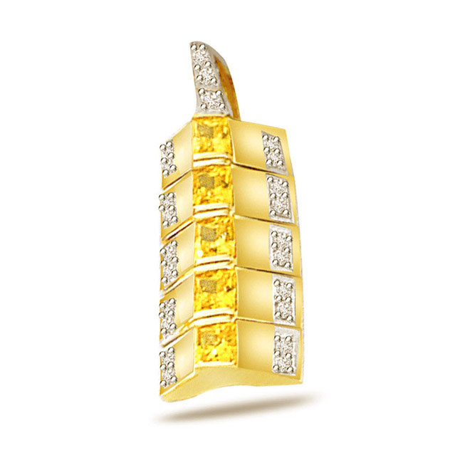 Golden Sunshine -0.15ct Diamond Gold Pendants