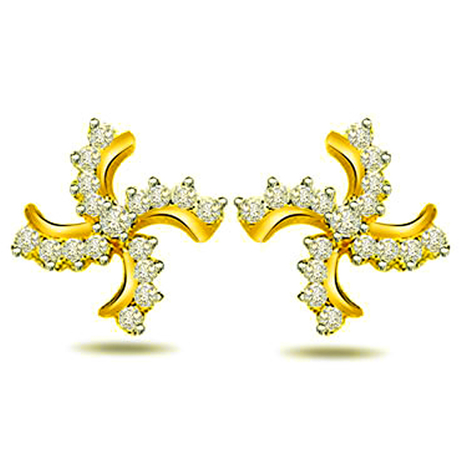 Golden Swastik 0.70ct Diamond Fancy Earrings -Designer Earrings